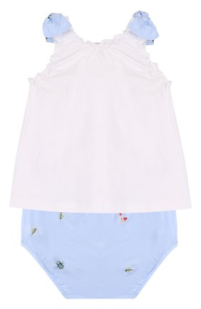 Детский хлопковый комплект из платья и шорт IL GUFO голубого цвета, арт. P18DP246C4039/3M-9M   Фото 2