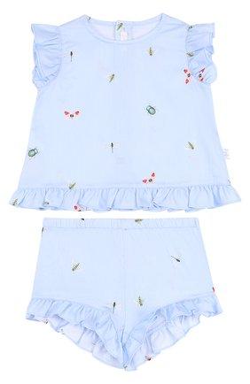 Детский хлопковый комплект из платья и шорт IL GUFO голубого цвета, арт. P18DP248C4039/12M-18M | Фото 1