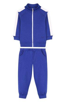 Детский хлопковый костюм из брюк и кардигана IL GUFO синего цвета, арт. P18DP253M0030/12M-18M | Фото 1