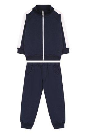 Детский хлопковый костюм из брюк и кардигана IL GUFO темно-синего цвета, арт. P18DP253M0030/12M-18M | Фото 1