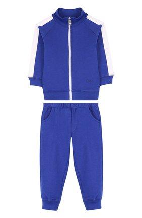 Детский хлопковый костюм из брюк и кардигана IL GUFO синего цвета, арт. P18DP253M0030/3M-9M   Фото 1