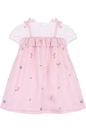 Женский хлопковое платье с принтом и оборкой IL GUFO розового цвета, арт. P18VM445C4039/12M-18M | Фото 1
