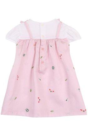 Женский хлопковое платье с принтом и оборкой IL GUFO розового цвета, арт. P18VM445C4039/12M-18M | Фото 2