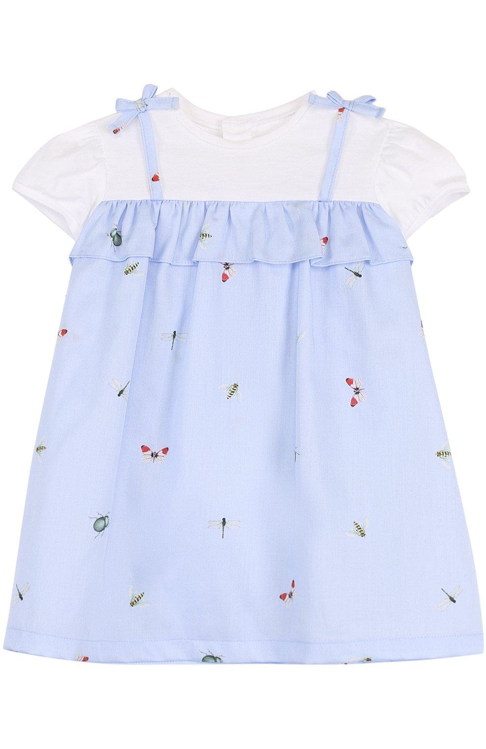 Женская хлопковое платье с принтом и оборкой IL GUFO голубого цвета, арт. P18VM445C4039/12M-18M | Фото 1