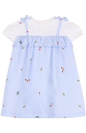 Женский хлопковое платье с принтом и оборкой IL GUFO голубого цвета, арт. P18VM445C4039/12M-18M | Фото 1