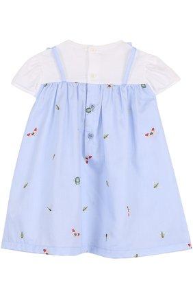 Женский хлопковое платье с принтом и оборкой IL GUFO голубого цвета, арт. P18VM445C4039/12M-18M | Фото 2