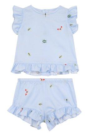 Детский хлопковый комплект из платья и шорт IL GUFO голубого цвета, арт. P18DP248C4039/3M-9M   Фото 1