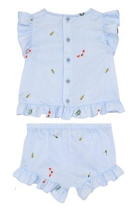 Детский хлопковый комплект из платья и шорт IL GUFO голубого цвета, арт. P18DP248C4039/3M-9M   Фото 2
