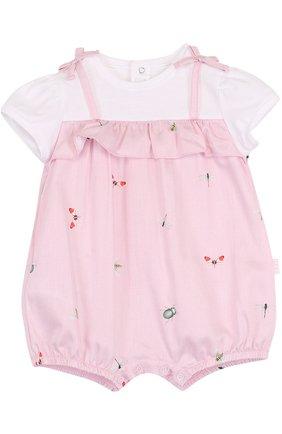 Детское хлопковый песочник с принтом и оборкой IL GUFO розового цвета, арт. P18T0182C4039/3M-9M   Фото 1
