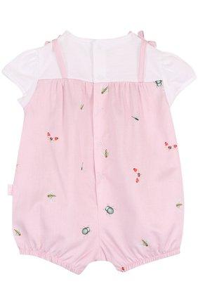 Детское хлопковый песочник с принтом и оборкой IL GUFO розового цвета, арт. P18T0182C4039/3M-9M   Фото 2