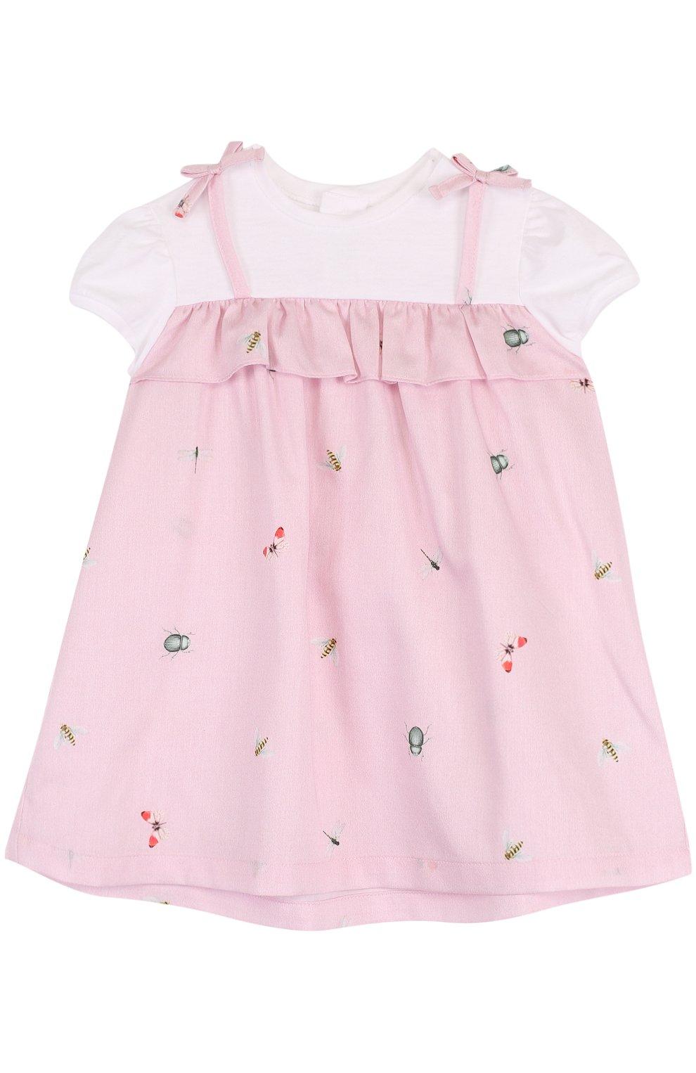 Женская хлопковое платье с принтом и оборкой IL GUFO розового цвета, арт. P18VM445C4039/3M-9M | Фото 1