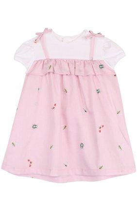 Хлопковое платье с принтом и оборкой | Фото №1
