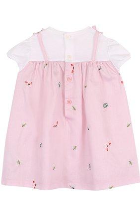 Женская хлопковое платье с принтом и оборкой IL GUFO розового цвета, арт. P18VM445C4039/3M-9M | Фото 2
