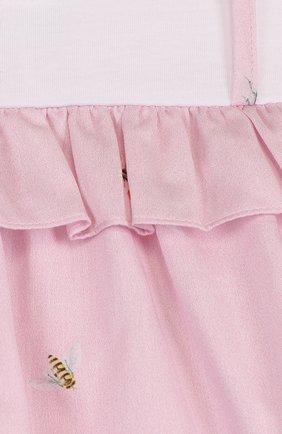 Женская хлопковое платье с принтом и оборкой IL GUFO розового цвета, арт. P18VM445C4039/3M-9M | Фото 3
