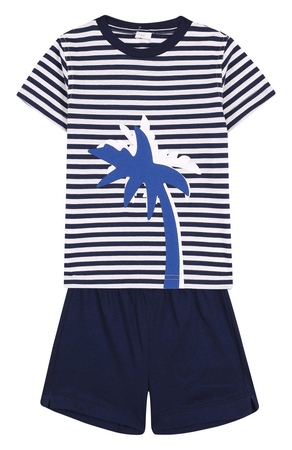 Детский хлопковый комплект из футболки и шорт IL GUFO темно-синего цвета, арт. P18DP1P2M1067/2A | Фото 1