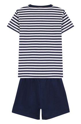 Детский хлопковый комплект из футболки и шорт IL GUFO темно-синего цвета, арт. P18DP1P2M1067/2A | Фото 2