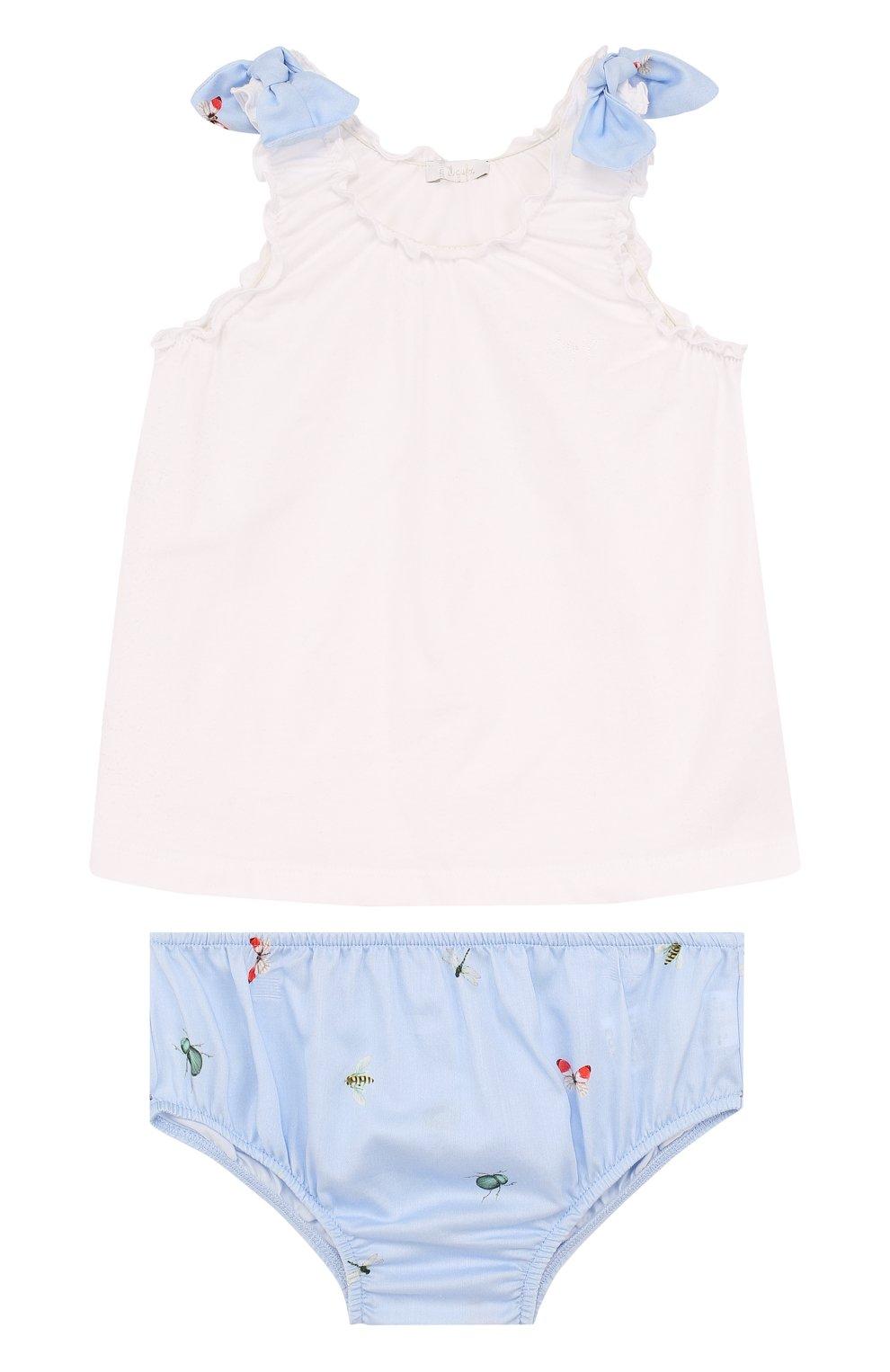 Детский хлопковый комплект из платья и шорт IL GUFO голубого цвета, арт. P18DP246C4039/2A | Фото 1