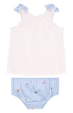 Детский хлопковый комплект из платья и шорт IL GUFO голубого цвета, арт. P18DP246C4039/2A | Фото 2