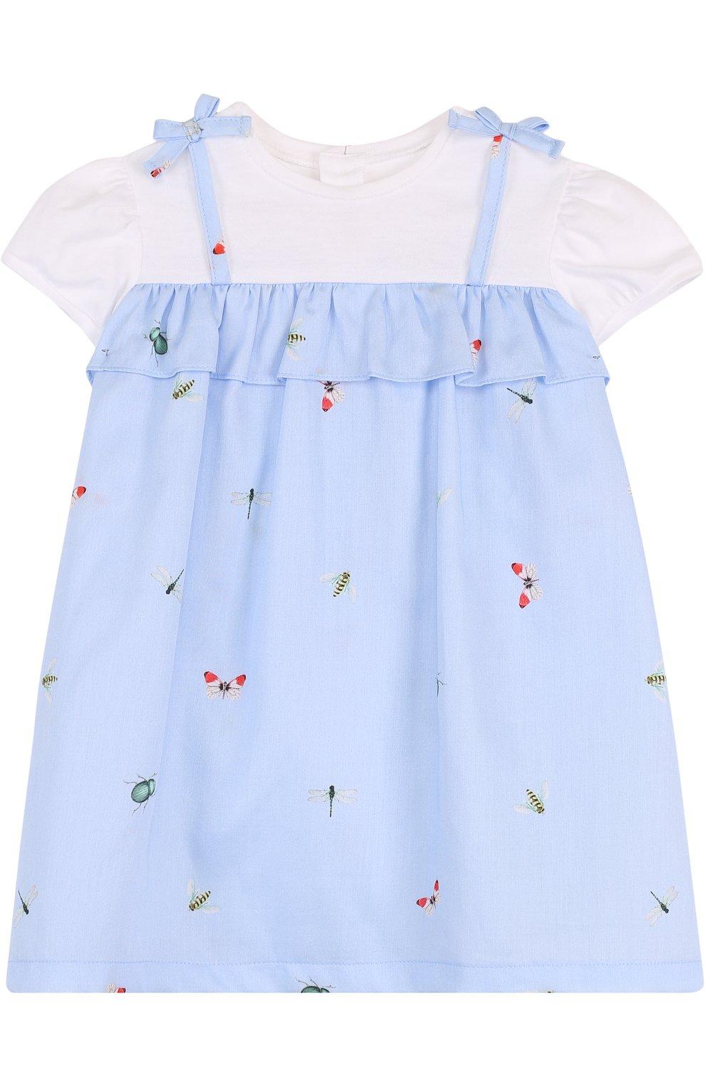 Женская хлопковое платье с принтом и оборкой IL GUFO голубого цвета, арт. P18VM445C4039/2A   Фото 1