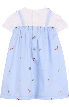 Женская хлопковое платье с принтом и оборкой IL GUFO голубого цвета, арт. P18VM445C4039/2A   Фото 2