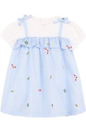 Женская хлопковое платье с принтом и оборкой IL GUFO голубого цвета, арт. P18VM445C4039/3M-9M | Фото 1
