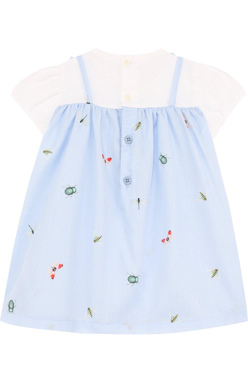 Женская хлопковое платье с принтом и оборкой IL GUFO голубого цвета, арт. P18VM445C4039/3M-9M | Фото 2