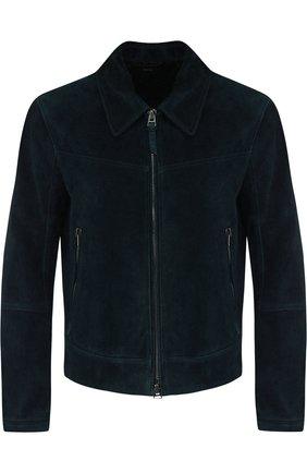 Мужская замшевая куртка на молнии с отложным воротником TOM FORD темно-синего цвета, арт. BP417/TFL662 | Фото 1