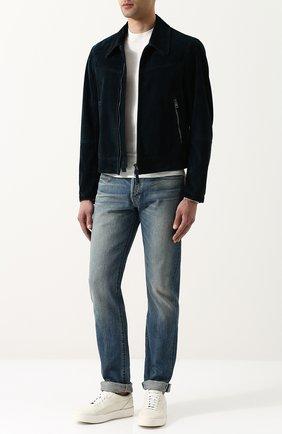 Мужская замшевая куртка на молнии с отложным воротником TOM FORD темно-синего цвета, арт. BP417/TFL662 | Фото 2