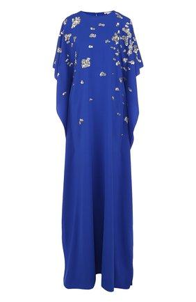 Шелковое платье-макси с вышивкой пайетками   Фото №1
