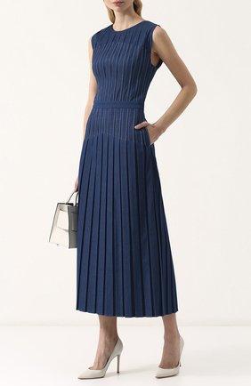 Женское приталенное джинсовое платье-миди LORO PIANA синего цвета, арт. FAI0258 | Фото 2