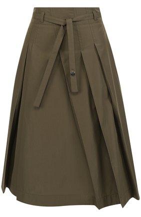 Однотонная хлопковая юбка-миди с поясом | Фото №1