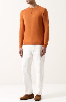 Мужской джемпер тонкой вязки из смеси шелка и льна LORO PIANA оранжевого цвета, арт. FAI0892 | Фото 2