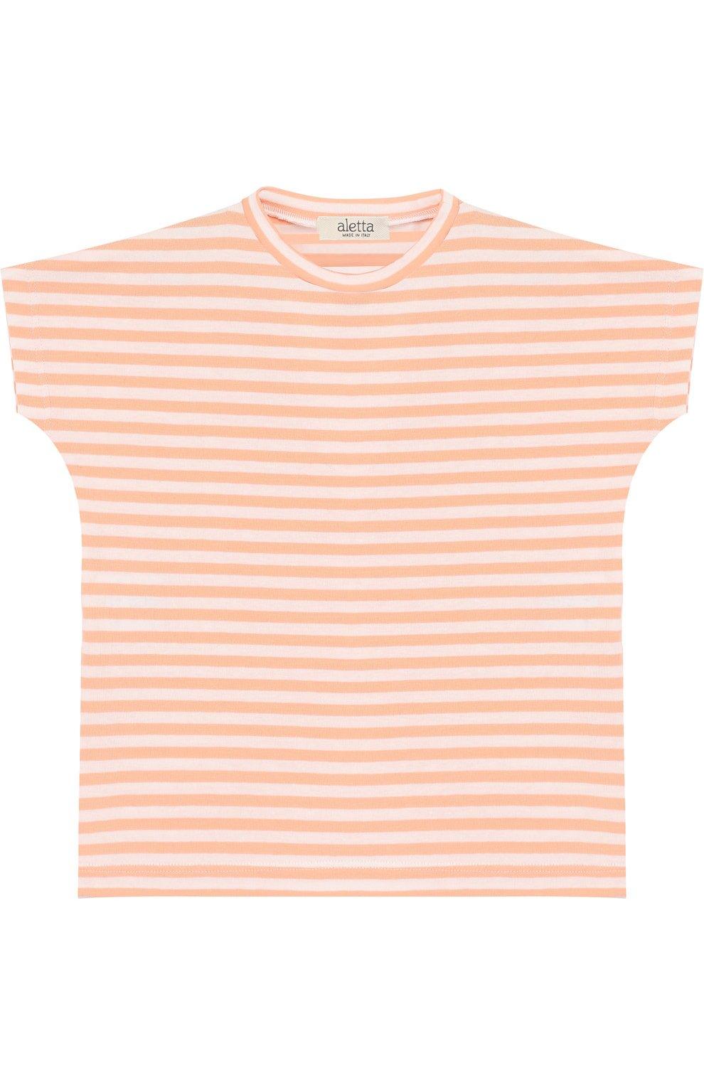 Детский хлопковая футболка в полоску ALETTA оранжевого цвета, арт. RW88618R/24M | Фото 1