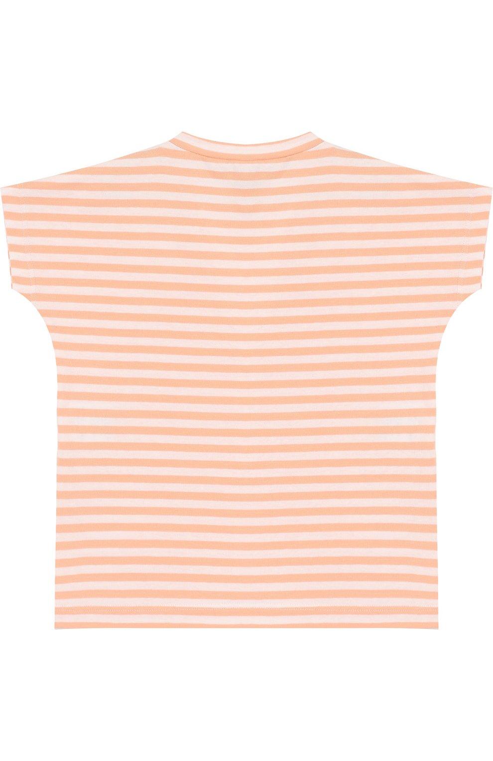Детский хлопковая футболка в полоску ALETTA оранжевого цвета, арт. RW88618R/24M | Фото 2