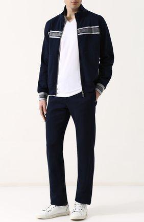 Хлопковые брюки прямого кроя с поясом на резинке Cortigiani синие | Фото №1