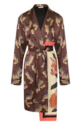 Пальто из вискозы с поясом и принтом   Фото №1