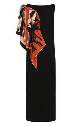 Приталенное платье-миди с контрастной оборкой   Фото №1