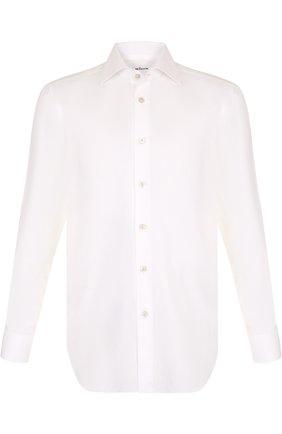 Мужская хлопковая сорочка с воротником кент KITON белого цвета, арт. UCIH0003401 | Фото 1