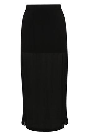 Однотонная шелковая юбка с разрезами | Фото №1