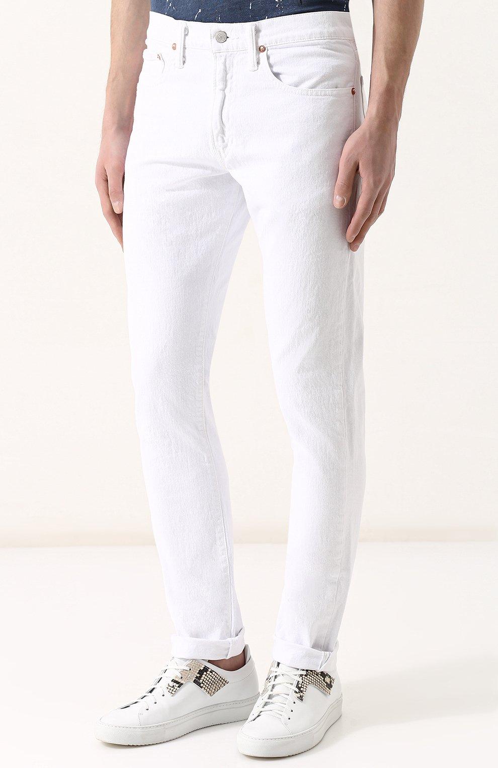 Джинсы прямого кроя Polo Ralph Lauren белые | Фото №3