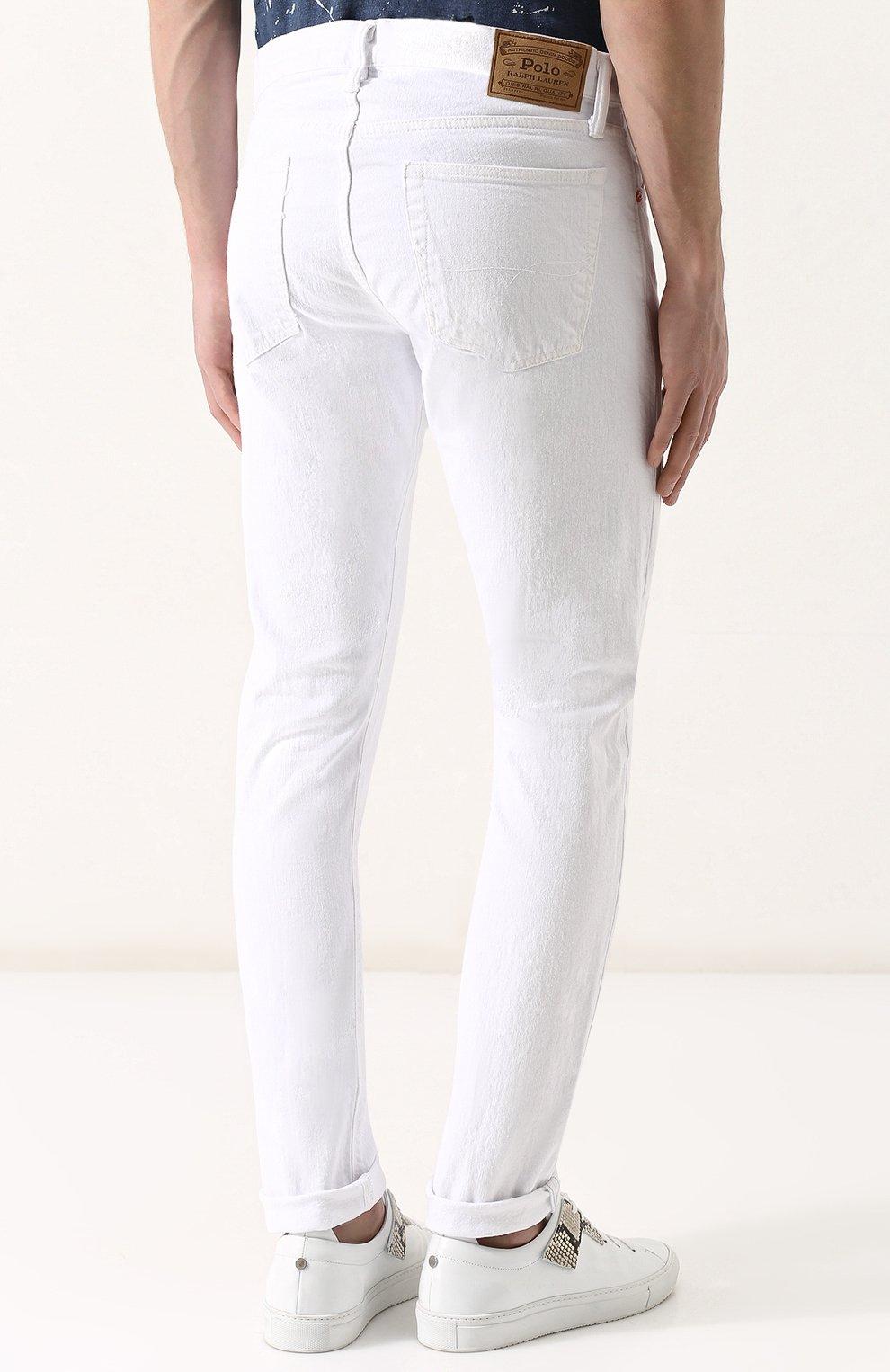 Джинсы прямого кроя Polo Ralph Lauren белые | Фото №4