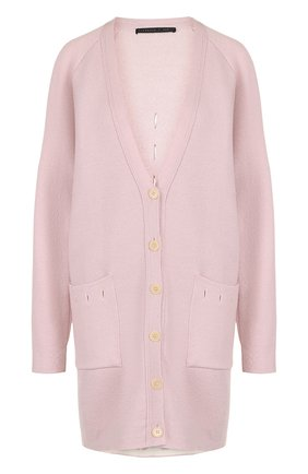 Удлиненный шерстяной кардиган с V-образным вырезом Victoria/Tomas розовый   Фото №1