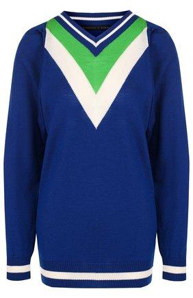 Шерстяной пуловер с V-образным вырезом Victoria/Tomas синий   Фото №1
