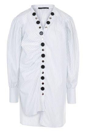 Хлопковая блуза асимметричного кроя с V-образным вырезом | Фото №1