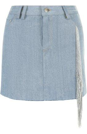 Джинсовая мини-юбка с потертостями и бахромой | Фото №1