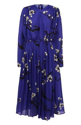 Платье-миди с принтом и поясом | Фото №1