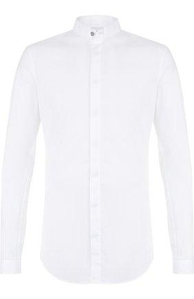 Хлопковая рубашка с воротником-стойкой   Фото №1