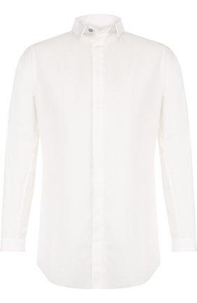Хлопковая рубашка с необработанным краем   Фото №1