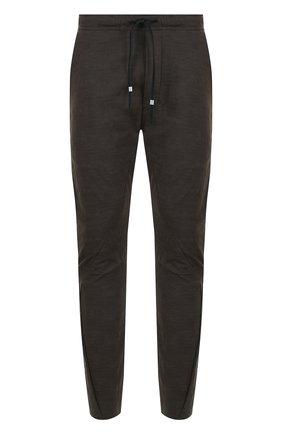 Хлопковые брюки прямого кроя с поясом на кулиске   Фото №1