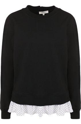 Хлопковый свитшот с принтованной оборкой Clu черный | Фото №1